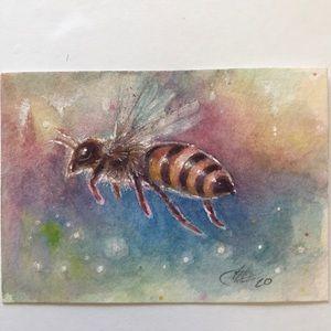 ACEO Original Painting honeybee bee watercolor